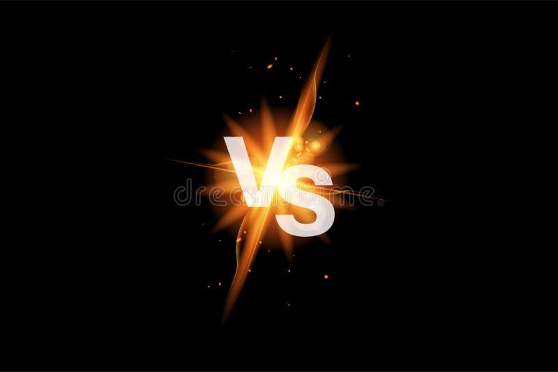 Vs batalistyczny sporta t?o versus Versus walki ikona z ogieniem Vs pojedynek ikona wektor ilustracji