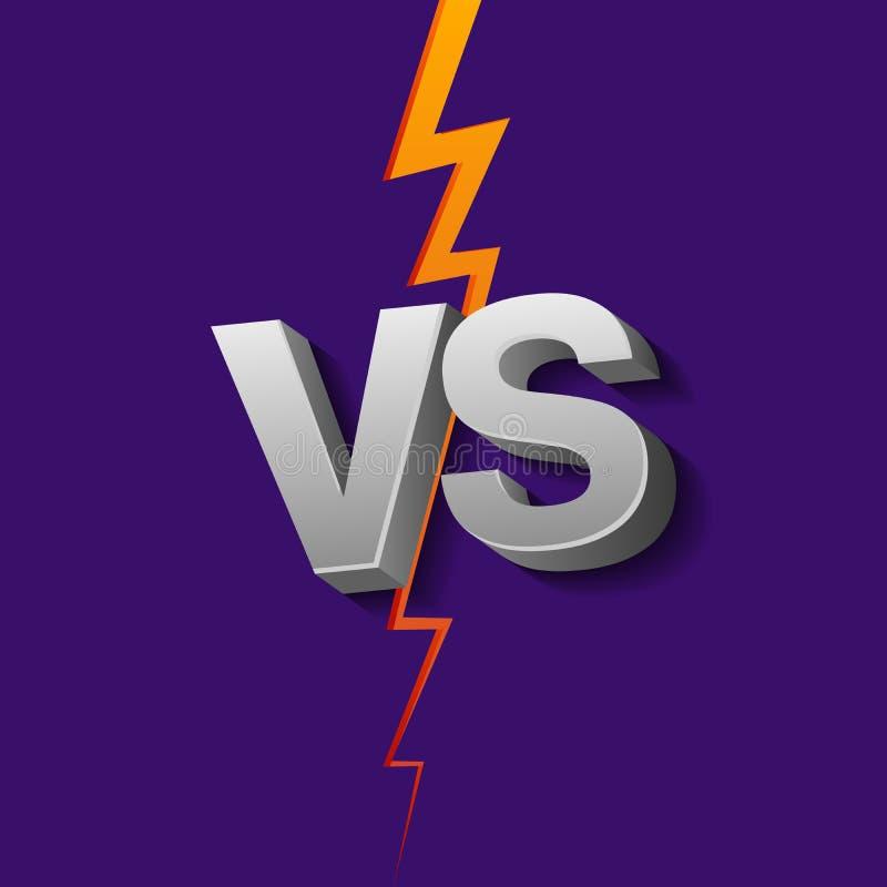 VS bokstäver på ultraviolett bakgrund med blixt Kontra vektorillustration royaltyfri illustrationer