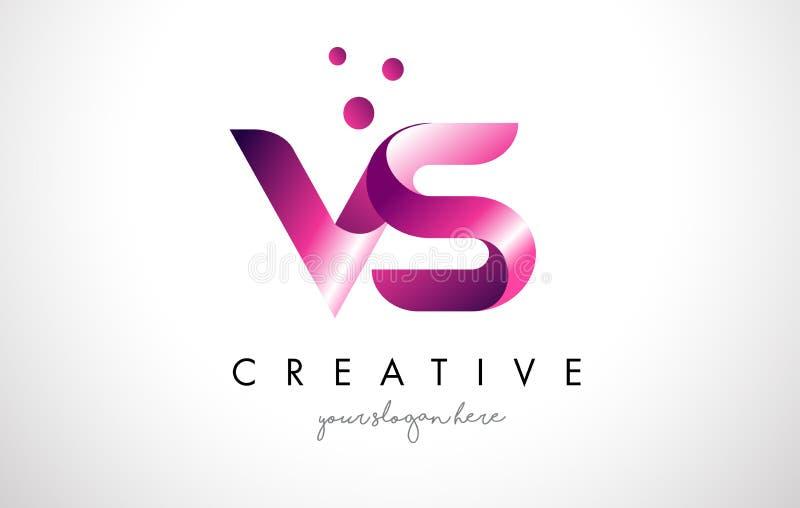 VS bokstaven Logo Design med lilafärger och prickar royaltyfri illustrationer