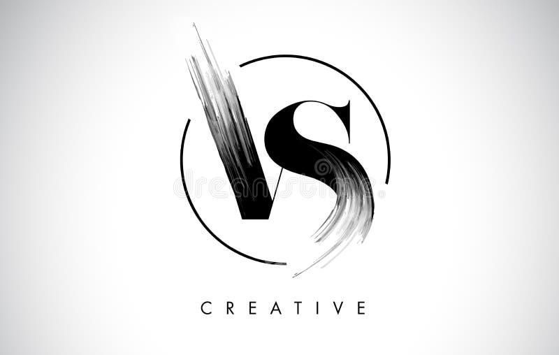 VS borsteslaglängdbokstaven Logo Design Svart målarfärg Logo Leters Icon stock illustrationer