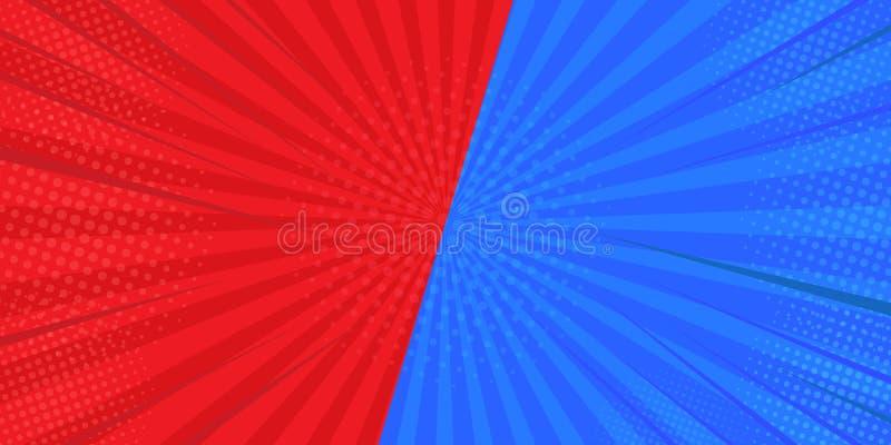 VS jämförelsen som slåss bakgrunder i den plana bakgrunden av komiker I rött och blått Planlagt från halv-signalen illustrat?r stock illustrationer