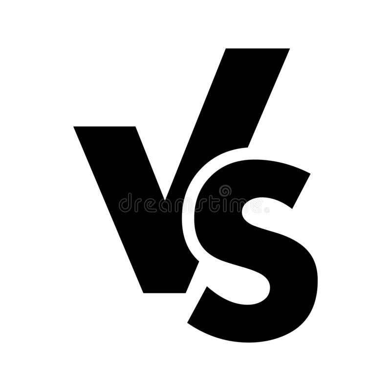 VS kontra bokstavslogosymbolen som isoleras på vit bakgrund VS kontra symbolet för konfrontation- eller oppositiondesignbegrepp royaltyfri illustrationer