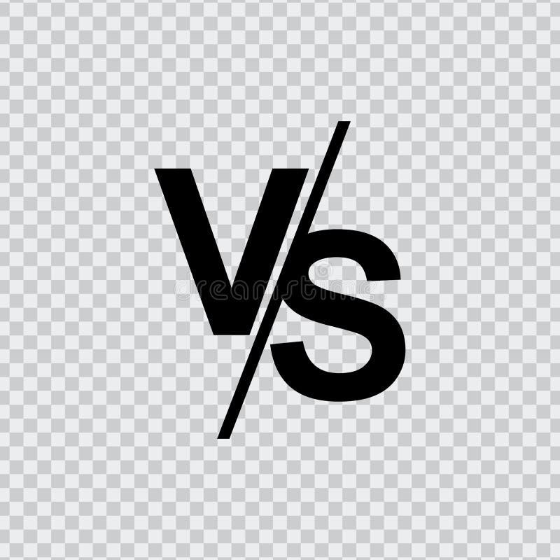 VS kontra bokstavsvektorlogoen som isoleras på genomskinlig bakgrund VS kontra symbolet för konfrontation eller opposition stock illustrationer