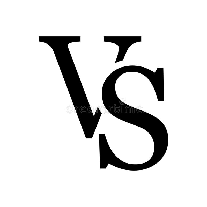 VS kontra symbolen för bokstavsvektorlogo som isoleras på vit bakgrund VS kontra symbolet för konfrontation- eller oppositiondesi vektor illustrationer