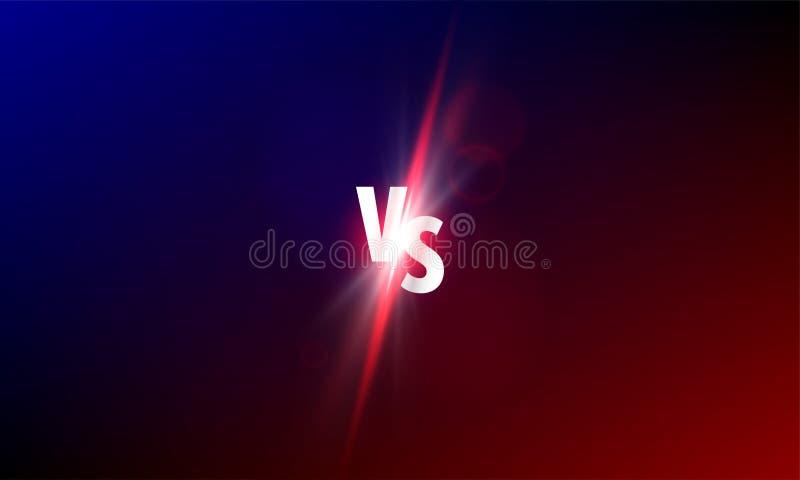 VS kontra vektorbakgrund Sportkampkonkurrens VS ljus stock illustrationer
