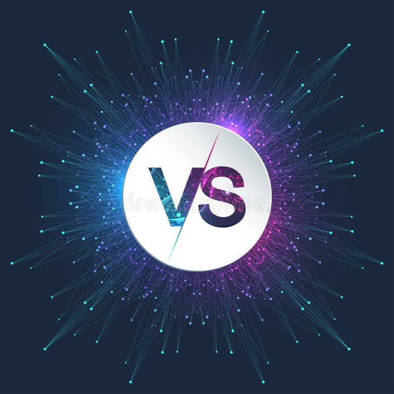 VS letters in the fractal element with connected lines and dots. Poster communication or particle compounds VS. Versus royalty free illustration