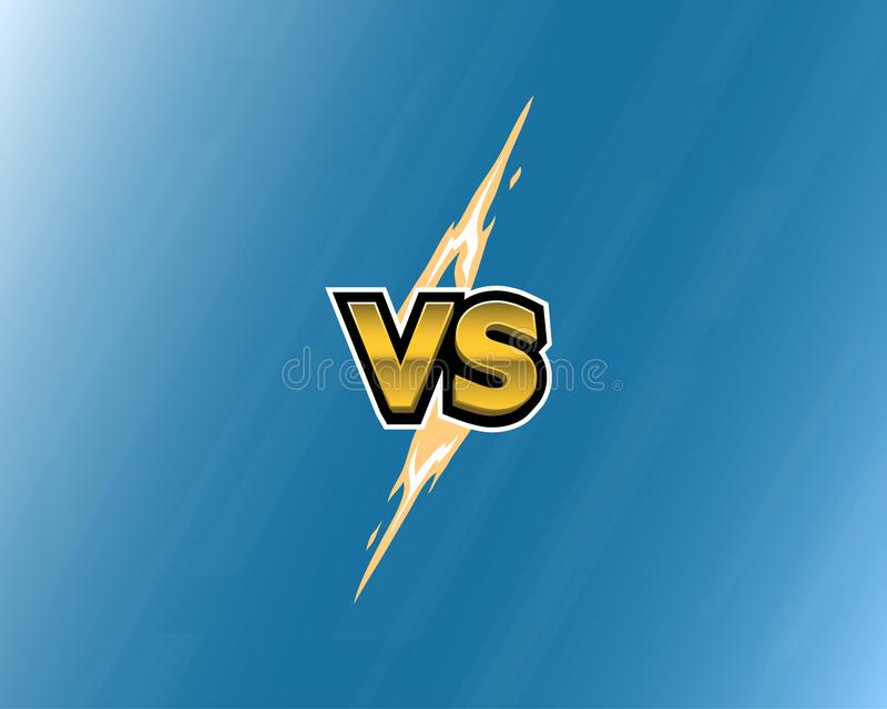 VS letters of lightning on blue background. Versus logo. Vector illustration. vector illustration
