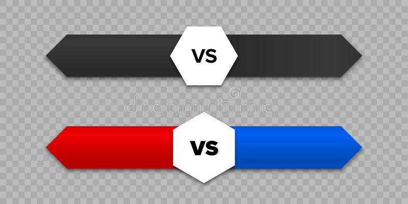 VS listy i strzała wektoru ikona versus royalty ilustracja