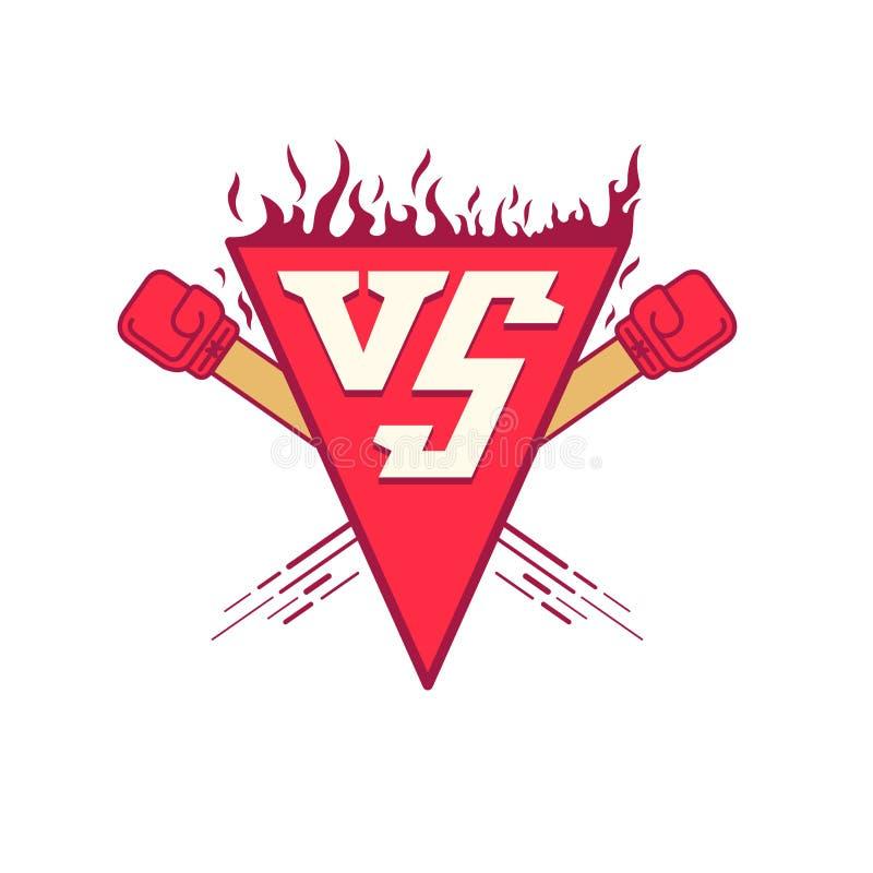 VS loga symbol Wektorowa ilustracja versus walka emblemat z ogienia i czerwieni ponczami royalty ilustracja