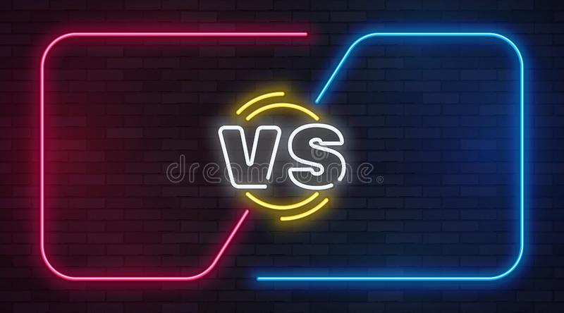 Vs neon. Versus battle game banner with neon empty frames. Boxing match duel, competition business confrontation vector illustration