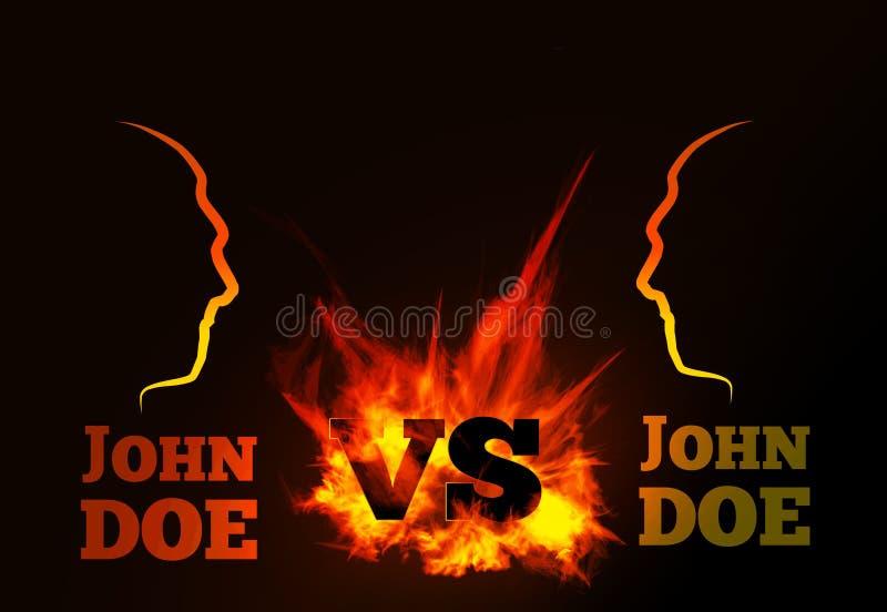 VS porównanie wektorowy tło z ognistym płomieniem ilustracji