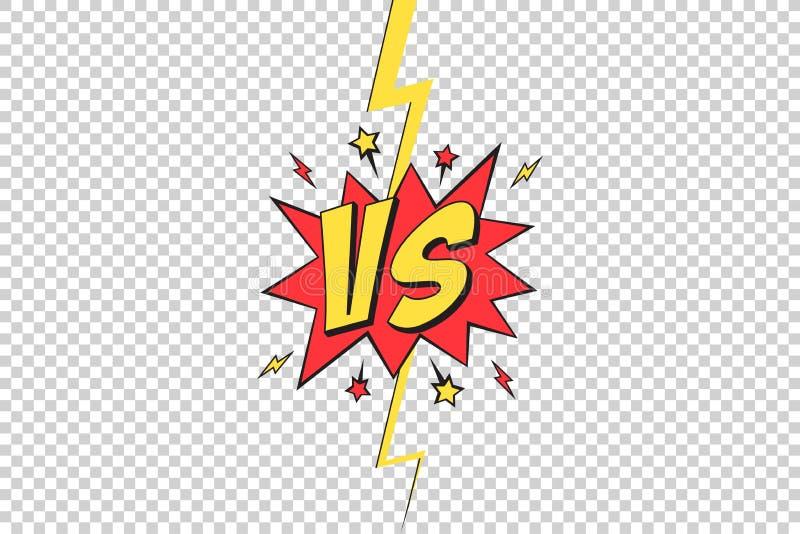 VS rama Versus wystrzał sztuki projekt na przejrzystym tle, komiczka z błyskawicową promień granicą dla wstępu bohater walka i po ilustracji