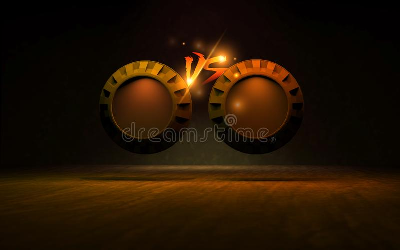 VS t?o Pomara?czowy kolor Dodaje Dwa 3D slogan?w rendering jp ilustracja wektor