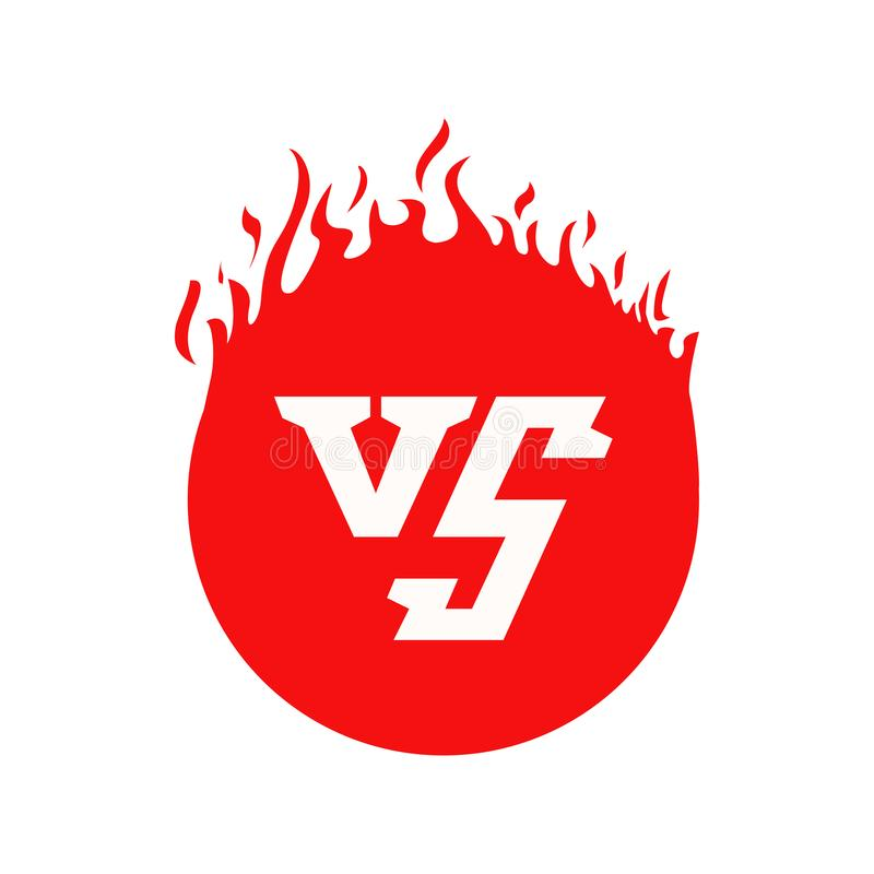 VS tekst i okręgu kształt z pożarniczymi ramami Czerwony płonąć VS listy ilustracji