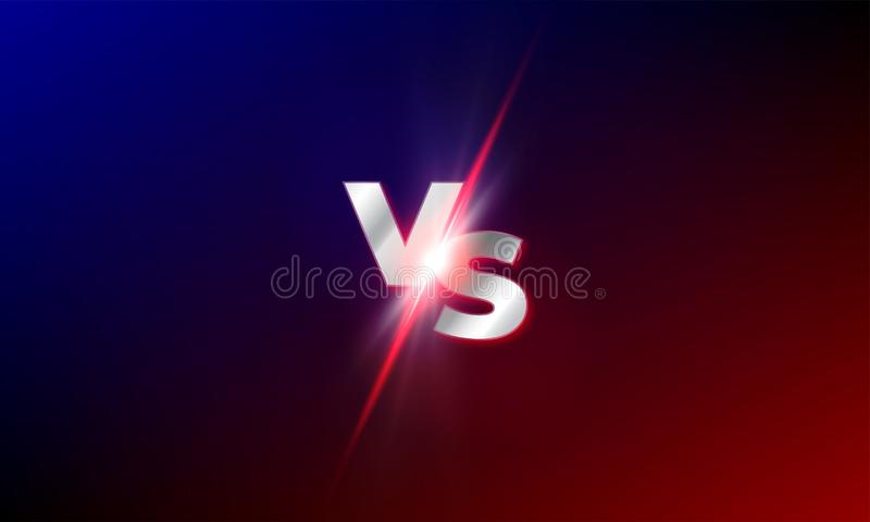 VS versus vector background. Red and blue mma fight competition VS light blast sparkle vector illustration