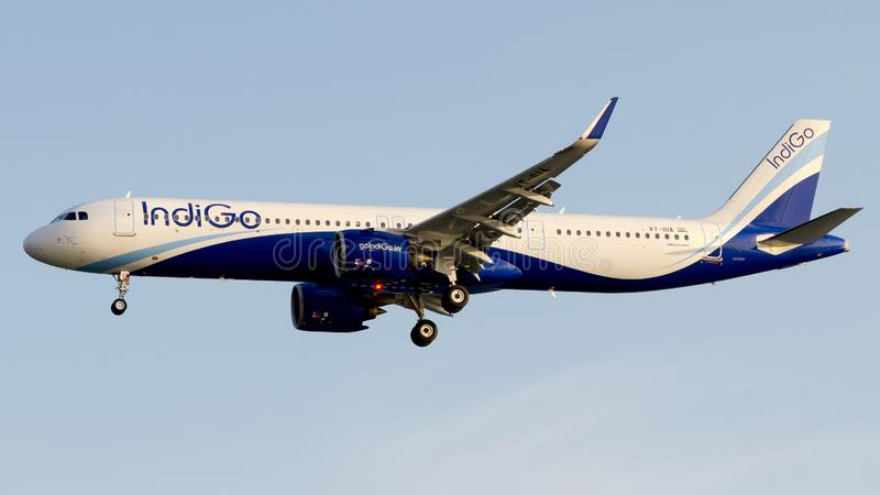 VT-IUA IndiGo Airlines, Airbus A321-271NX. VT-IUA is on final approach runway 05 at Istanbul Atatürk Airport LTBA, March 20, 2019 stock photo