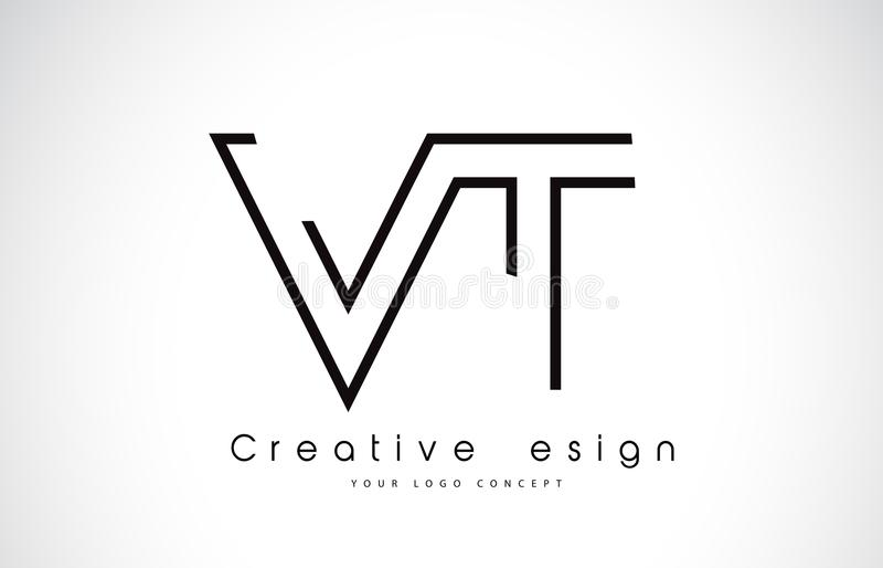 VT V t-Brief Logo Design in Zwarte Kleuren royalty-vrije illustratie
