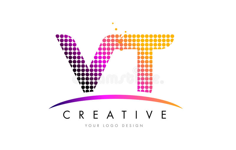 VT V T Letter Logo Design with Magenta Dots and Swoosh. VT V T Dots Letter Logo Design with Magenta Bubble Circles and Swoosh stock illustration