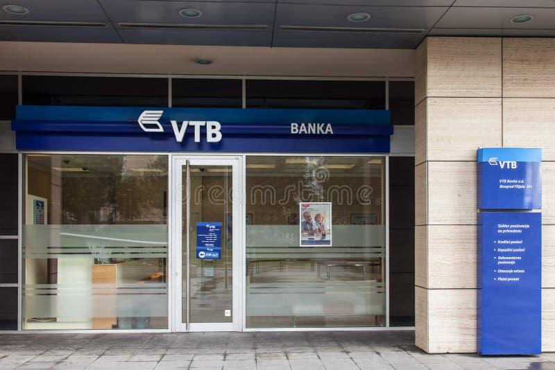 VTB bank także znać jako VTB banka logo na ich głównym biurze dla Belgrade VTB bank jest Rosyjskim ogólnoludzkim bankiem zdjęcie royalty free