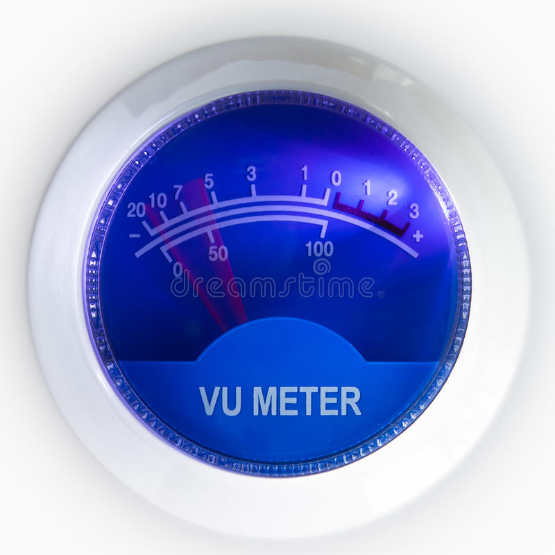 Vu meter. With blue background stock photography