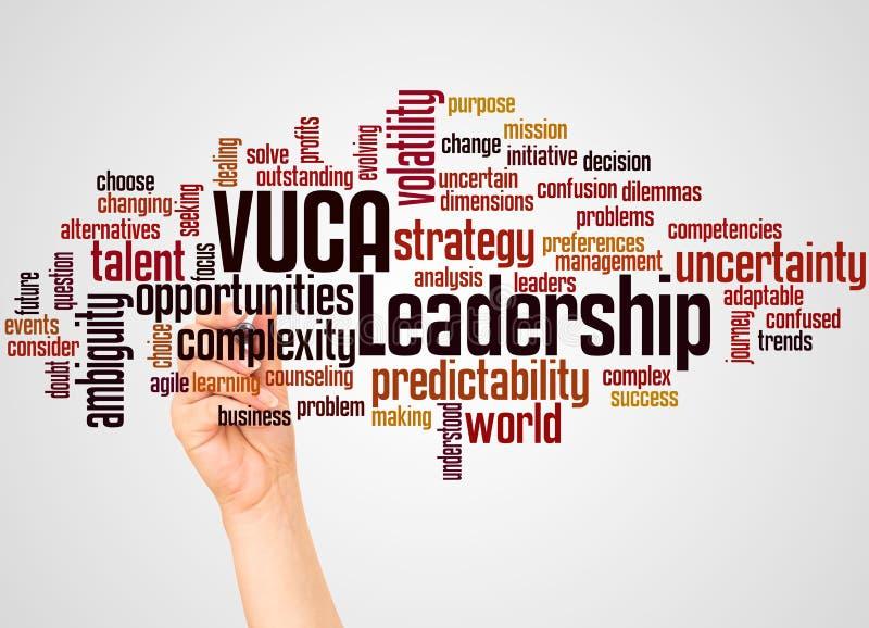 VUCA-de wolk en de hand van het leidingswoord met tellersconcept stock illustratie
