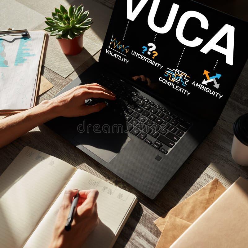 VUCA-wereldconcept op het scherm Vluchtigheid, onzekerheid, ingewikkeldheid, ambiguïteit royalty-vrije stock afbeelding