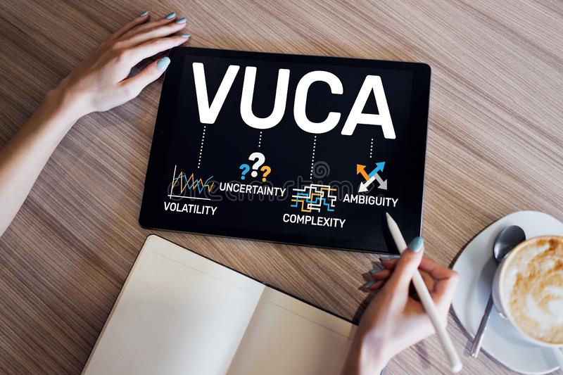 VUCA world concept on screen. Volatility, uncertainty, complexity, ambiguity. stock photo