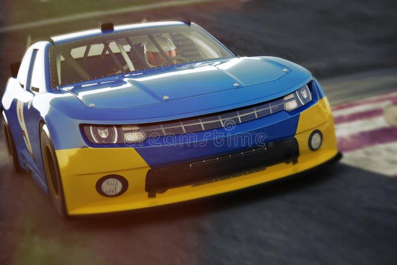Vue à angles d'avant de voiture de course de sports automobiles expédiant en bas d'une voie Voiture de course générique, illustration libre de droits