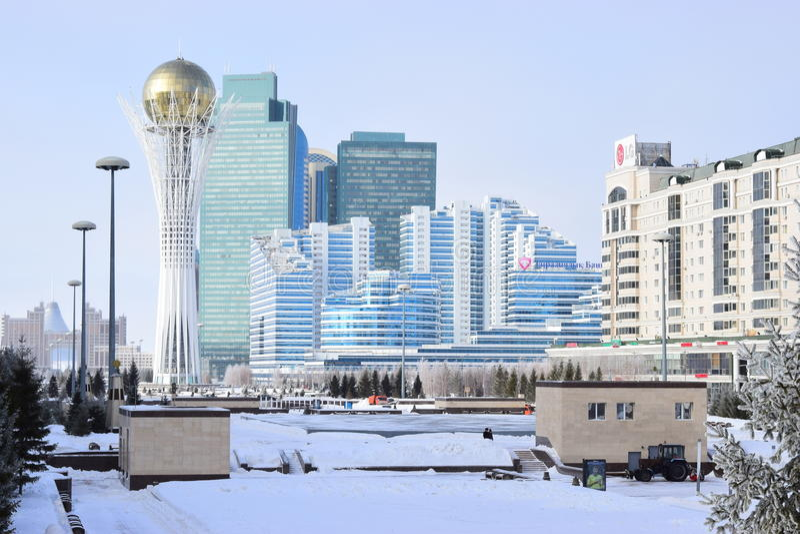 Vue à Astana en hiver photographie stock libre de droits