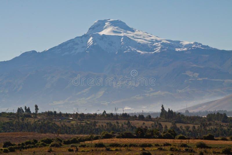 Vue à couper le souffle de volcan de Cayambe, Equateur images stock