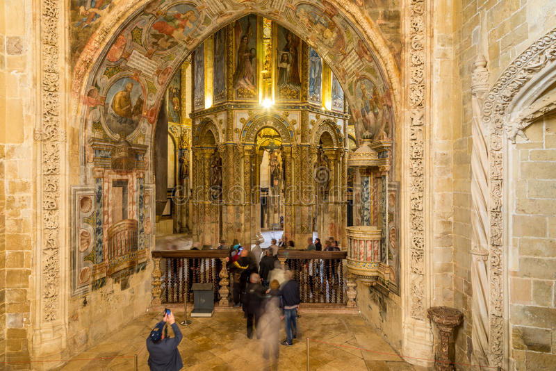 Vue à l'église ronde dans le couvent du Christ de Tomar - le Portugal photo libre de droits