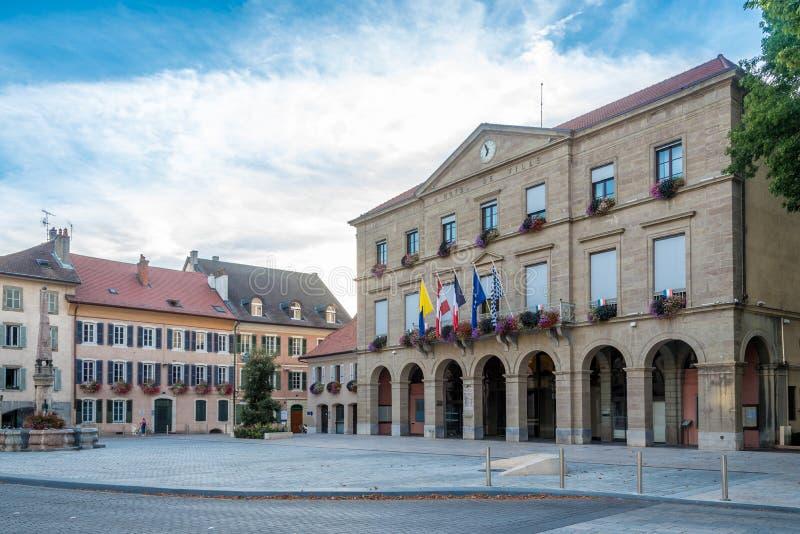 Vue à l'hôtel de ville dans des les Bains - France de Thonon photo stock