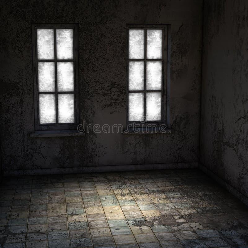 Vue à l'intérieur de la salle vide d'une clinique psychiatrique abandonnée illustration de vecteur