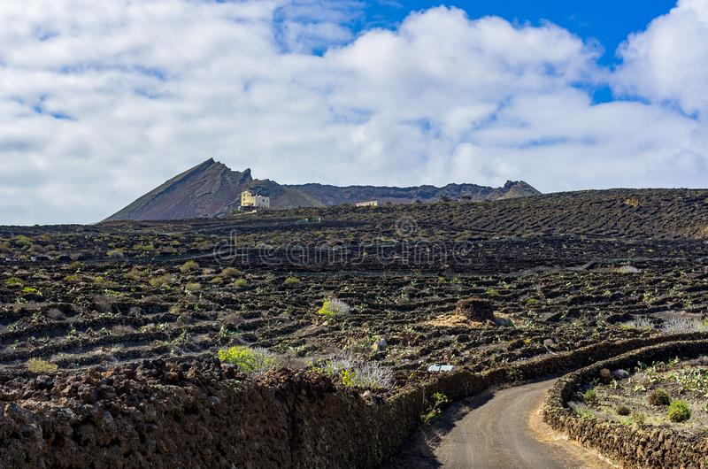 Vue à la couronne de La de caldeira près du YE, Lanzarote images libres de droits