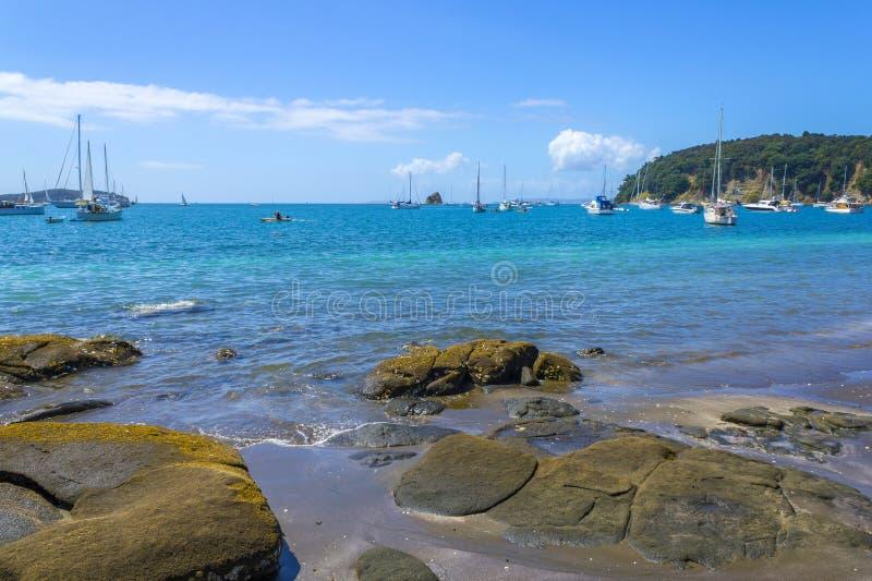 Vue à la plage Auckland Nouvelle-Zélande de Mahurangi de baie de Sullivans image libre de droits