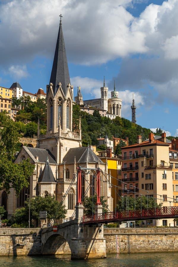 Vue à la vieille ville de Lyon images libres de droits