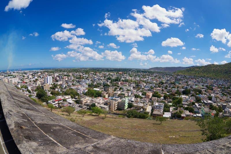 Vue à la ville du rempart d'Adelaïde de fort à Port-Louis, Îles Maurice photo libre de droits