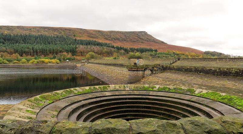 Vue à travers le réservoir de Ladybower, vers le bord de Bamford Secteur maximal Derbyshire photographie stock