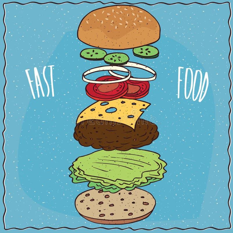 Vue éclatée de cheeseburger classique illustration stock