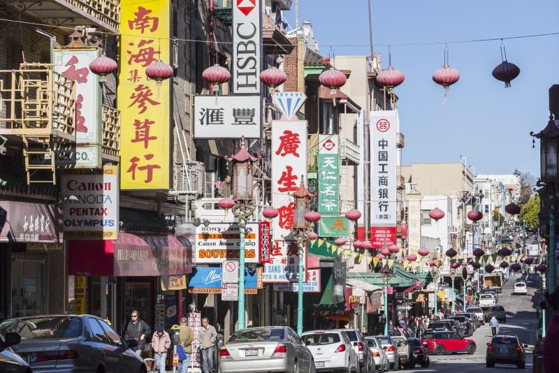 Vue éditoriale de rue de San Francisco Chinatown image libre de droits