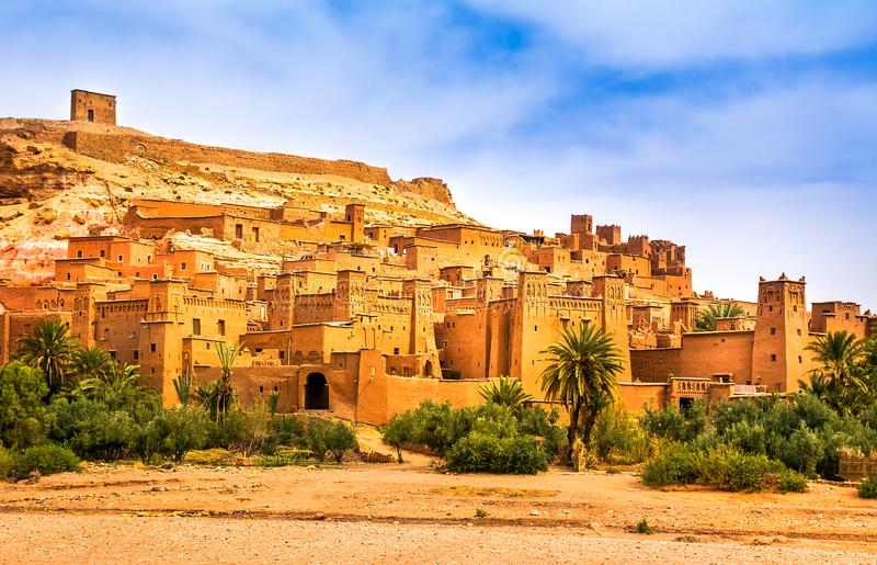 Vue étonnante de Kasbah Ait Ben Haddou près d'Ouarzazate dans l'Atl photographie stock libre de droits