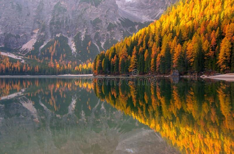 Vue étonnante de lac Braies au jour d'automne image stock