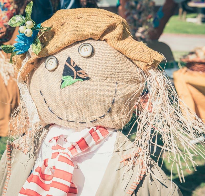 Vue étroite de portrait de poupée heureuse d'épouvantail image libre de droits