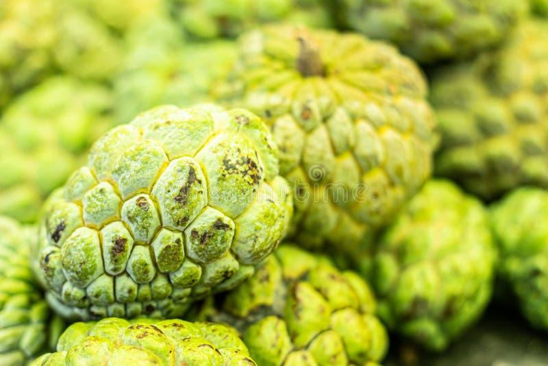 Vue étroite des plusieurs fruit de Pinhia Fruit frais du nord-est du Brésil vert sur l'extérieur et blanc sur l'intérieur images libres de droits