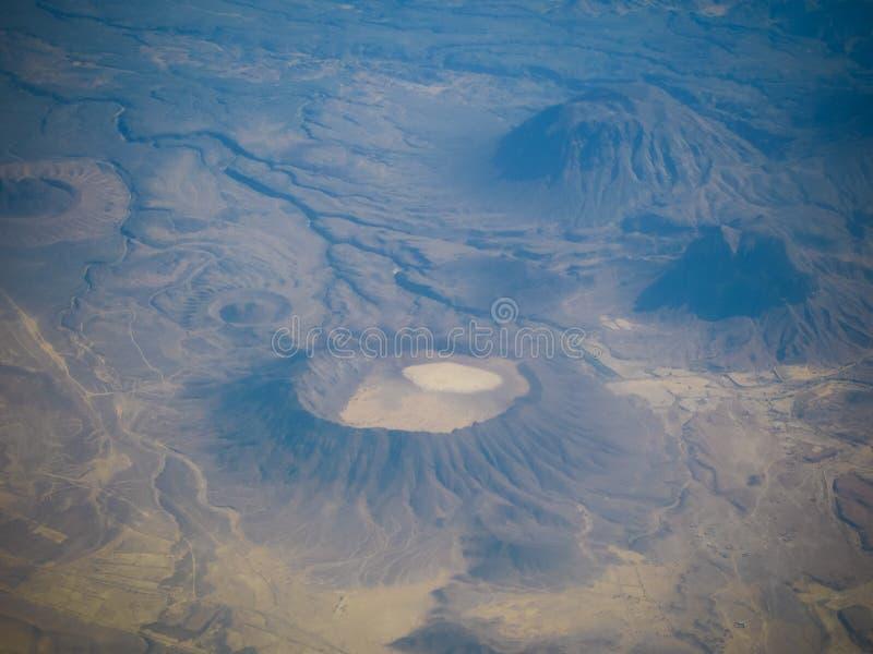 Vue aérienne à l'oued Hadhramaut, Yémen photos stock