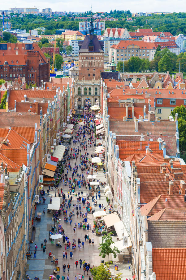 Vue aérienne à la vieille ville à Danzig, Pologne image stock