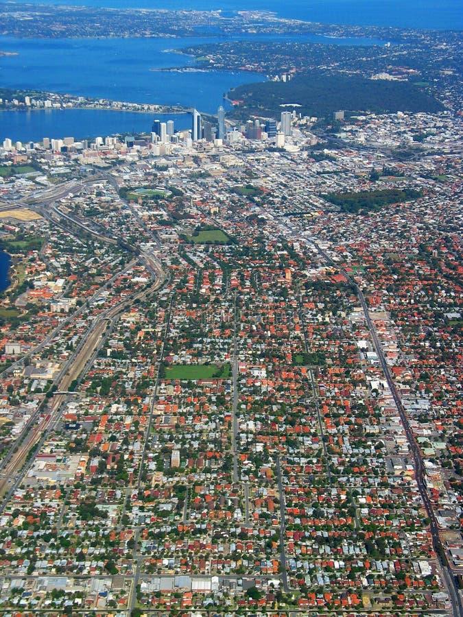 Vue aérienne 1 de ville de Perth images libres de droits