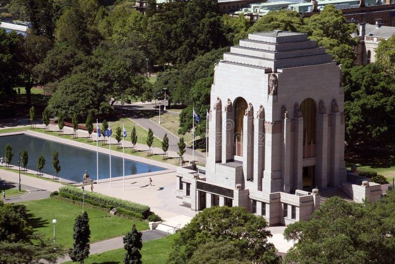 Vue aérienne ANZAC Memorial et piscine de souvenir photographie stock libre de droits