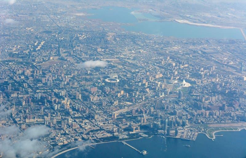 Vue aérienne au-dessus de Bakou, Azerbaïdjan photographie stock libre de droits