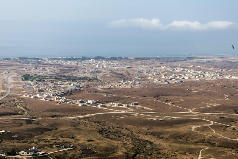 Vue aérienne au-dessus de région Dhofar Salalah 3 de l'Oman du sultanat de Taqah de ville photographie stock
